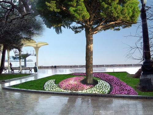 На набережной Ялты благоустраивают Александровский сквер
