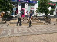 В центре Симферополя возобновились работы по ремонту просевшей плитки