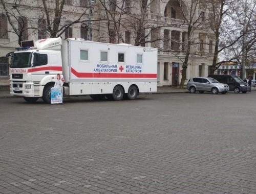 На площади Нахимова в Севастополе открылся мобильный пункт вакцинации от COVID-19