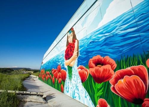 Возле трассы «Таврида» нарисовали огромный пейзаж в цветах триколора