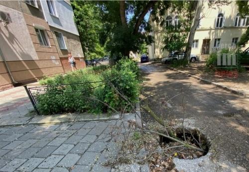 В Керчи вместо ремонта, яму на Еременко забросали ветками